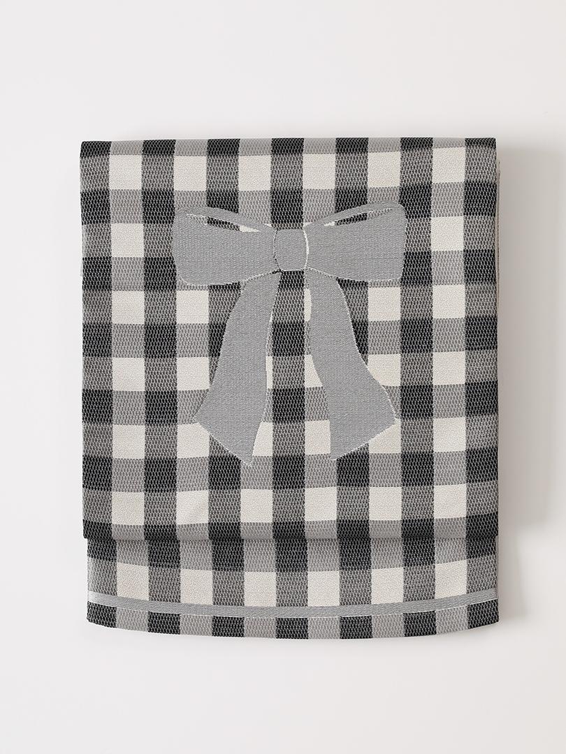 ギンガムチェック 西陣織 京袋帯・黒×生成