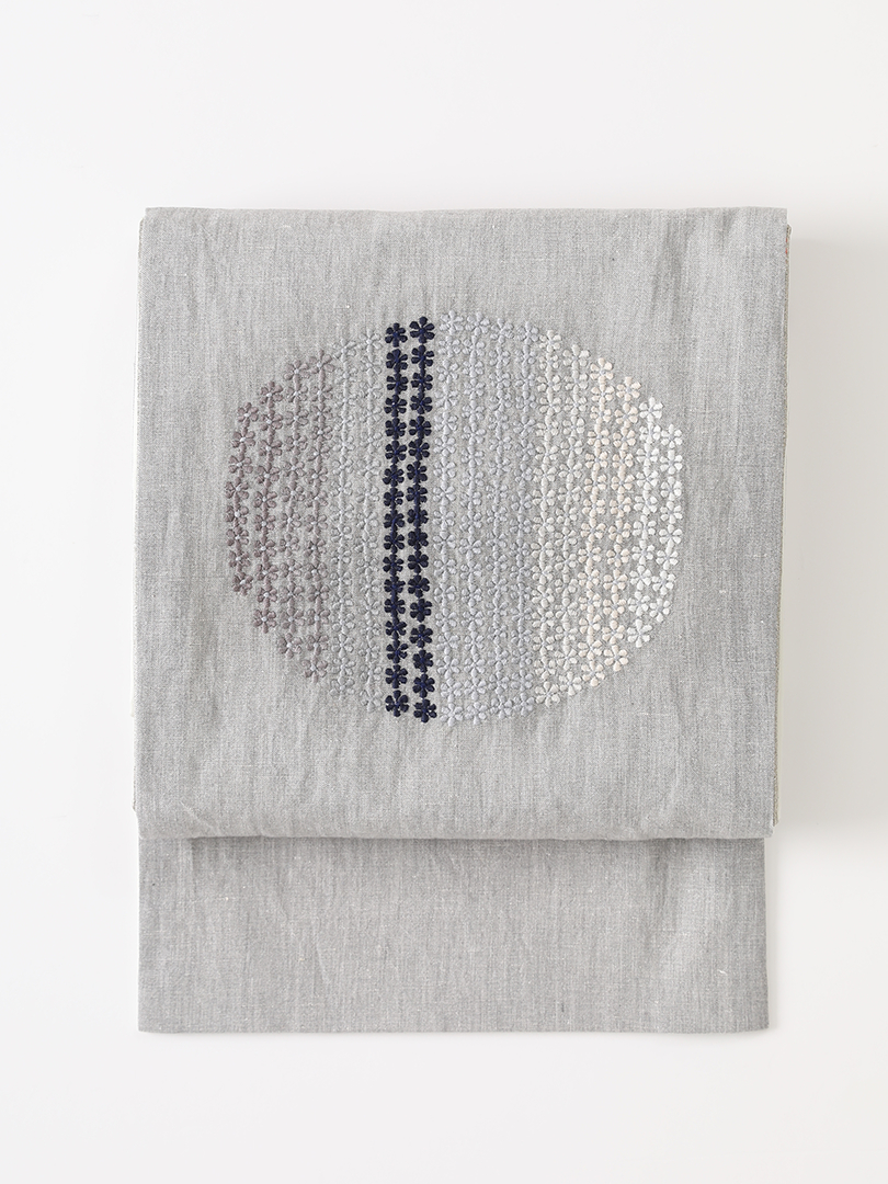 月影 インド刺繍帯・紺
