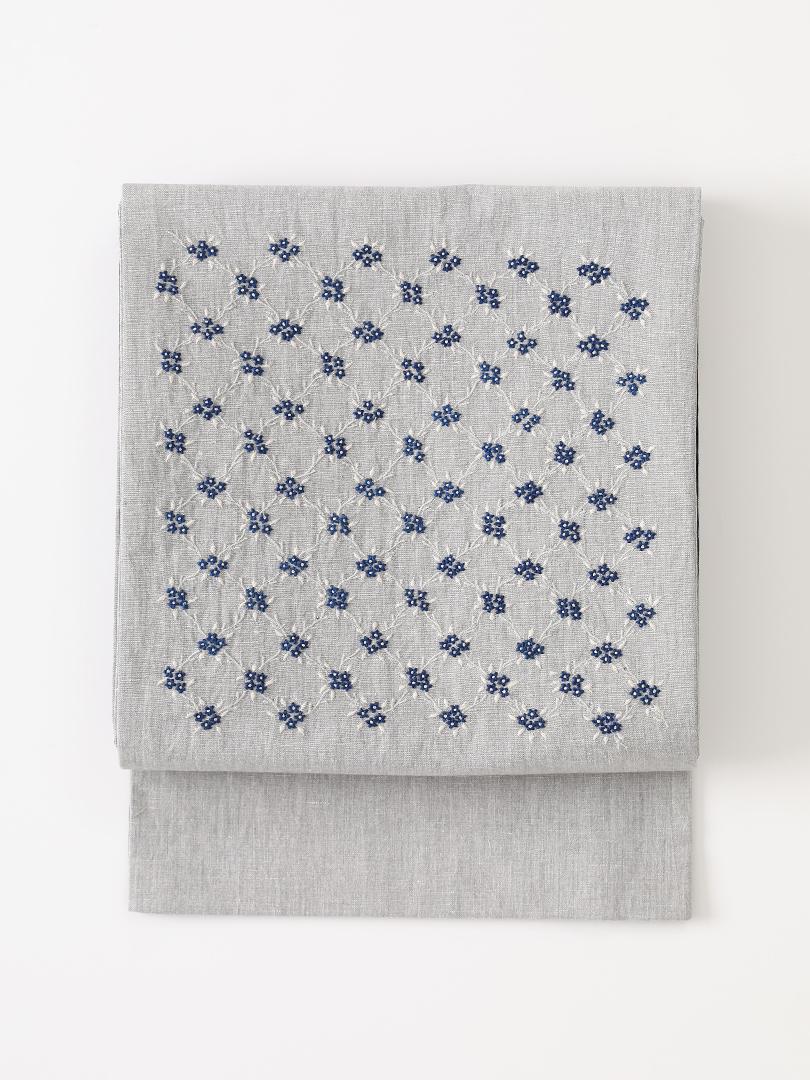 花野 インド刺繍京袋帯・灰