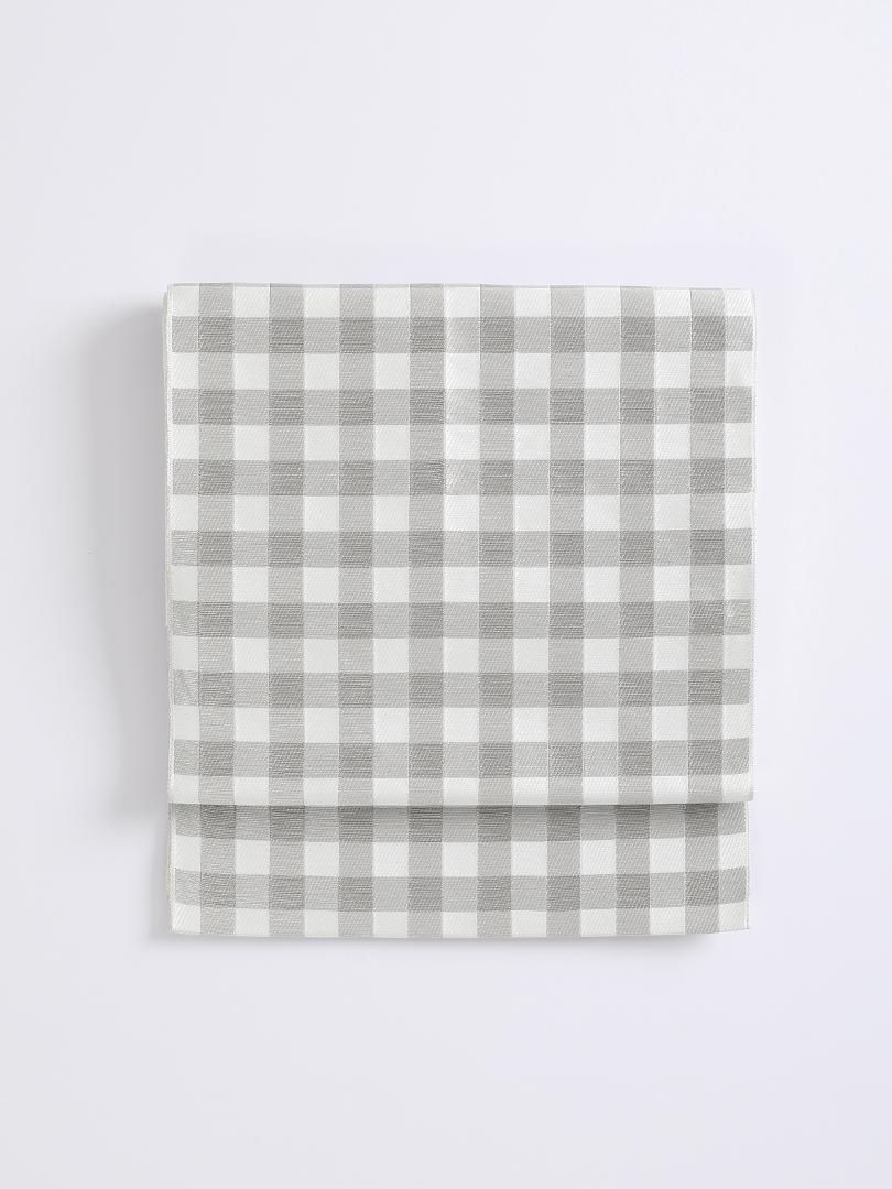 ギンガムチェック 博多織帯・シルバー