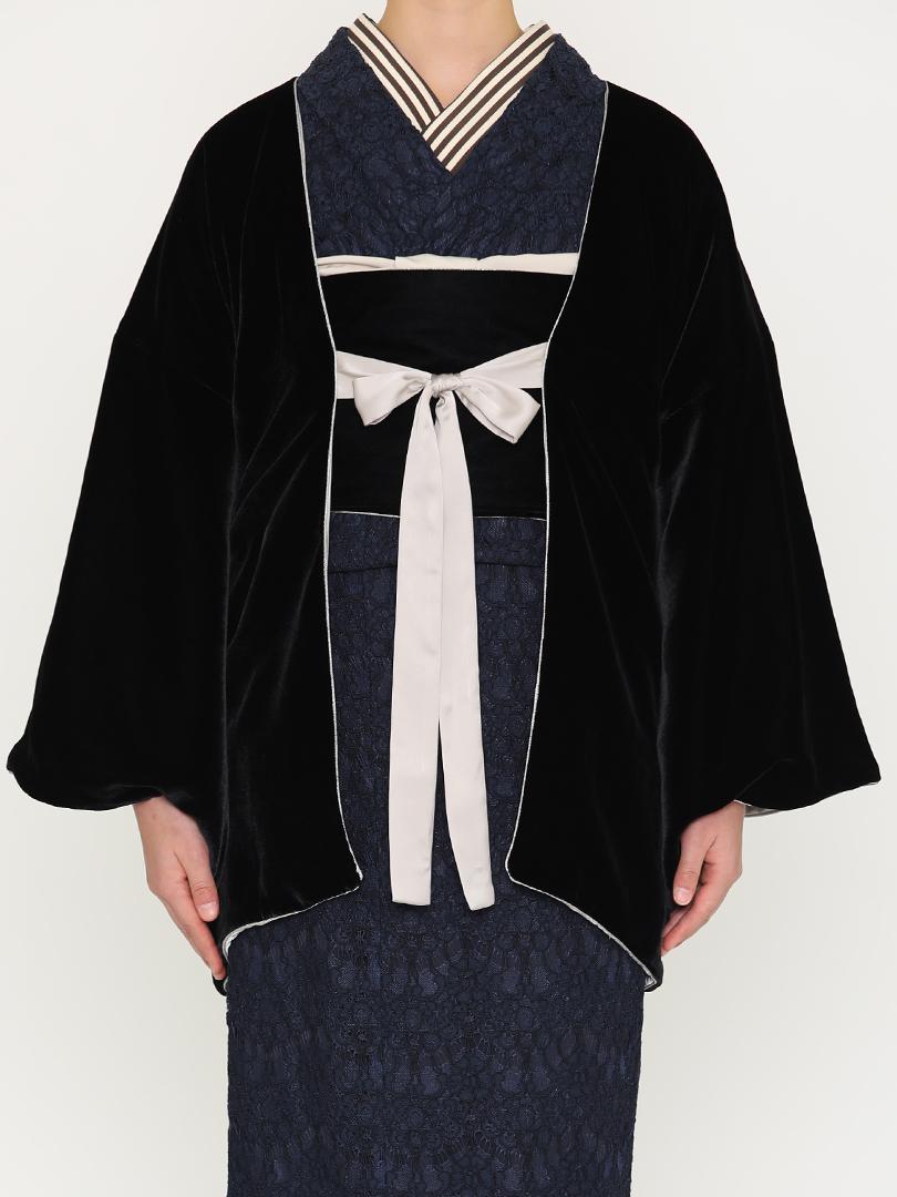 リボンベルベット羽織・黒