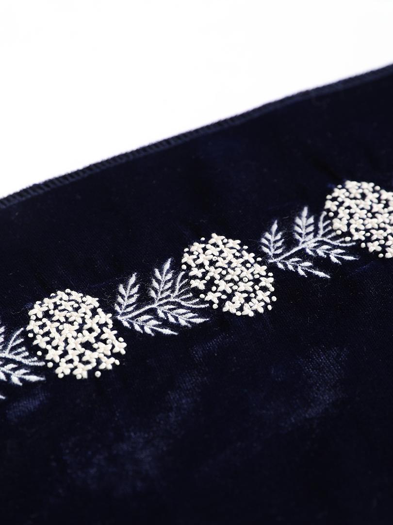 月影 インド刺繍ベルベット半衿・紺